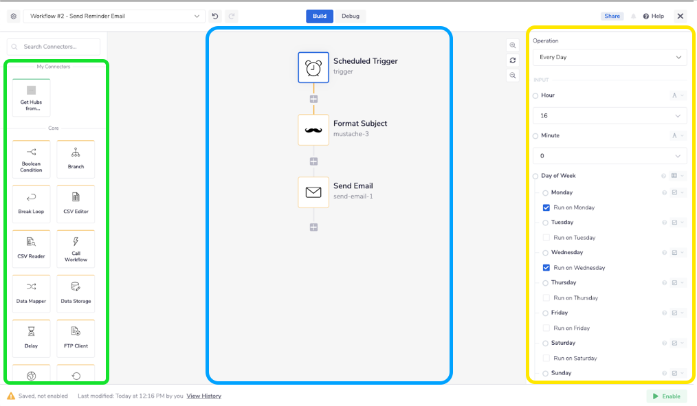 The Tray.io builder canvas for the Send Reminder Email workflow: The green box on the left is the Connectors Library, the section in blue is the Canvas, and the yellow section is the Parameters pane.