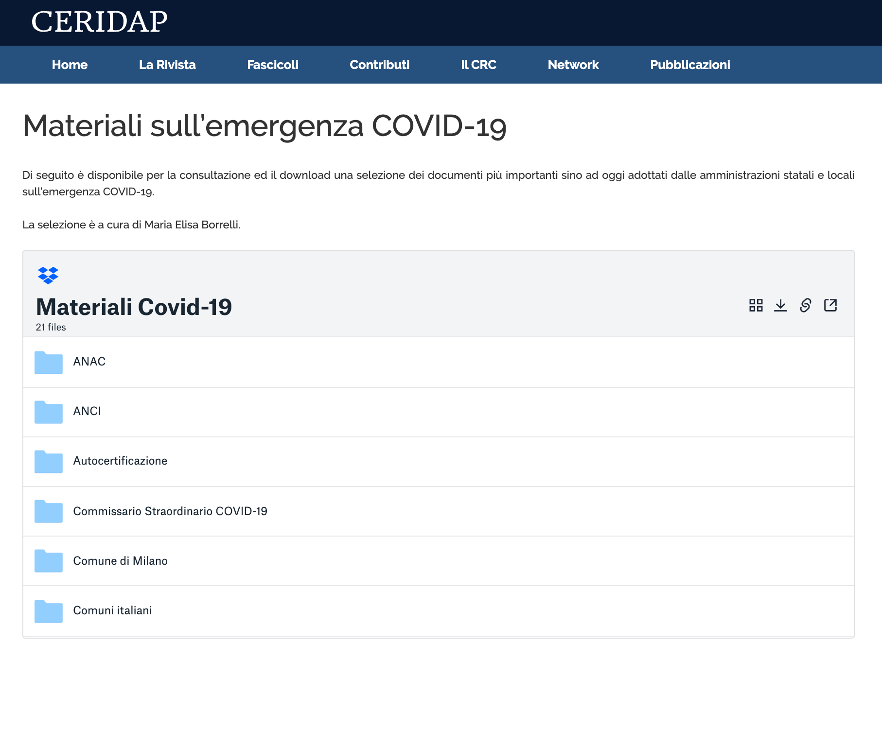 Screenshot of the Embedder being used by CERIDAP to distribute pandemic resources