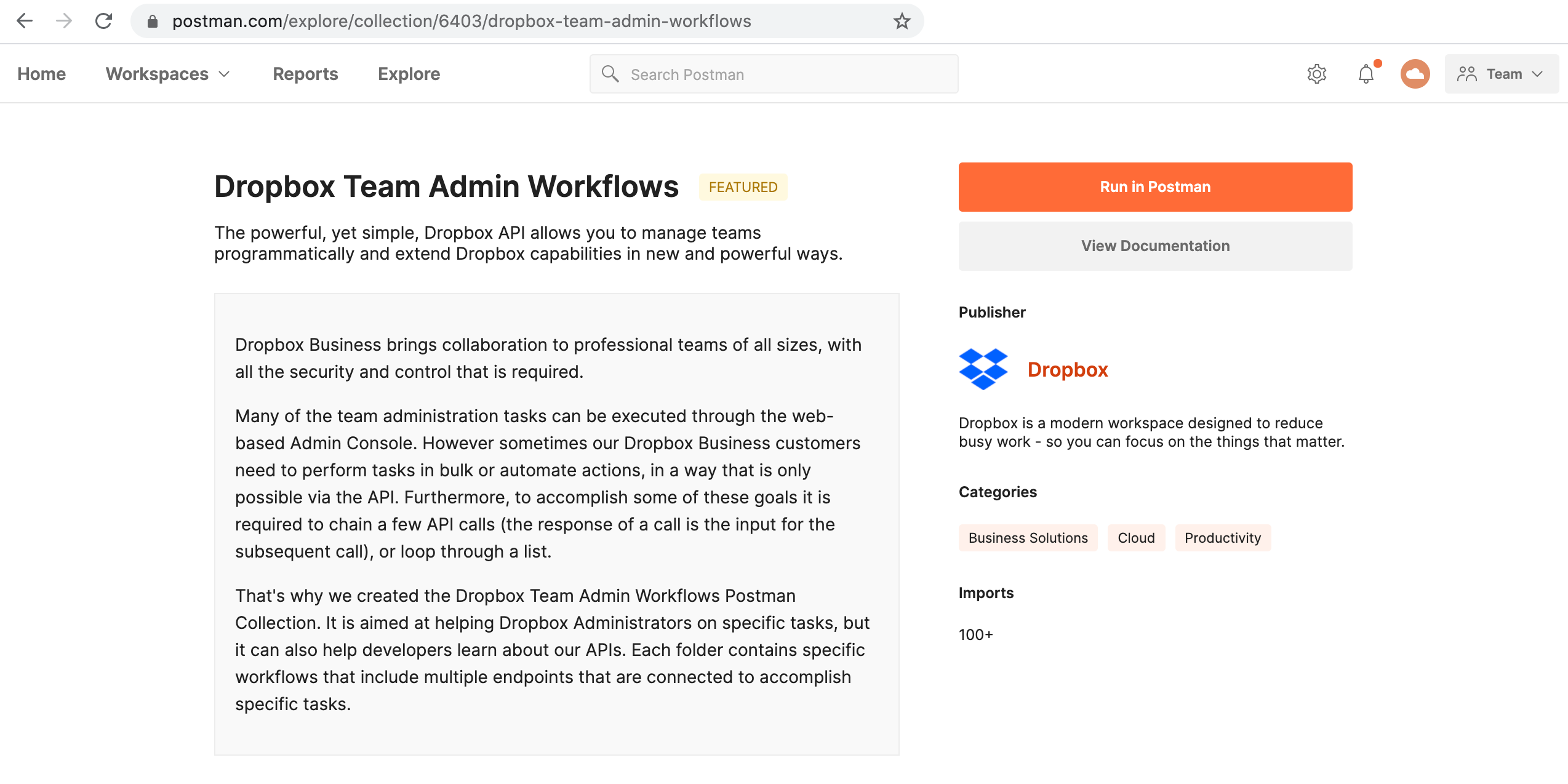 The Dropbox Team Admin Workflows collection in Postman