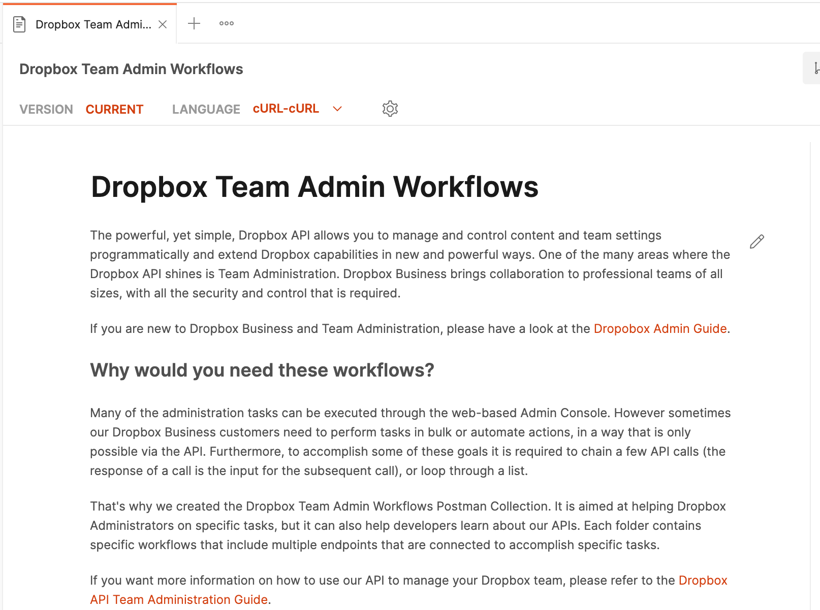 Documentation for the Dropbox Team Admin Workflows collection